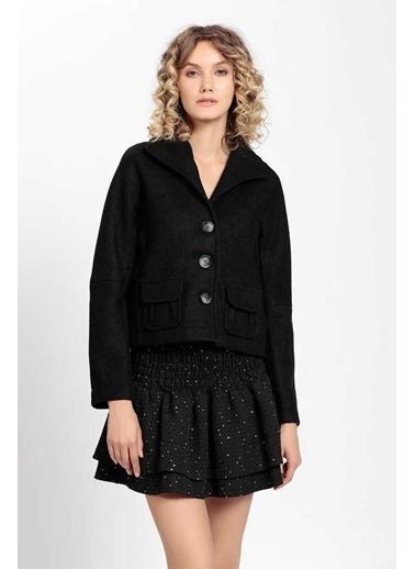 Vitrin Cep Ve Düğme Detaylı Crop Ceket Siyah